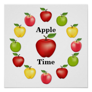 Apple Time, Delicious, Granny Smith, Pink Variety Poster