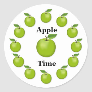 Apple Time, Granny Smith Classic Round Sticker