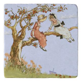 Apple Tree and Girl's Vintage Illustration Trivets