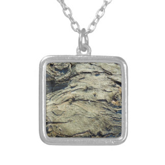 Apple Tree Bark Texture Silver Plated Necklace