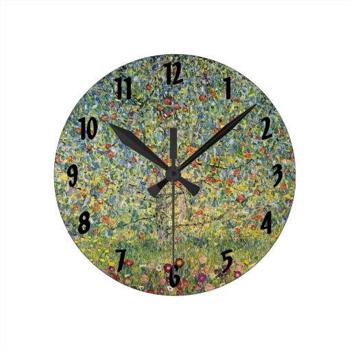 Apple Tree by Gustav Klimt, Vintage Art Nouveau Round Wall Clocks