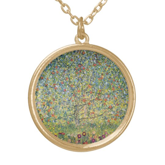 Apple Tree by Gustav Klimt, Vintage Art Nouveau Gold Plated Necklace