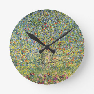 Apple Tree by Gustav Klimt, Vintage Art Nouveau Round Clock