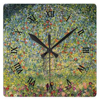 Apple Tree by Gustav Klimt, Vintage Art Nouveau Square Wall Clock