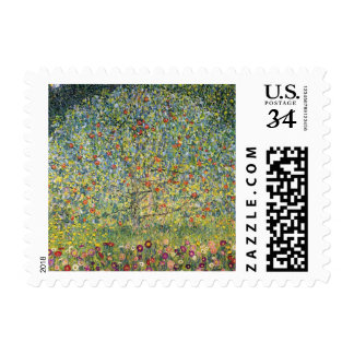 Apple Tree by Gustav Klimt, Vintage Art Nouveau Stamp