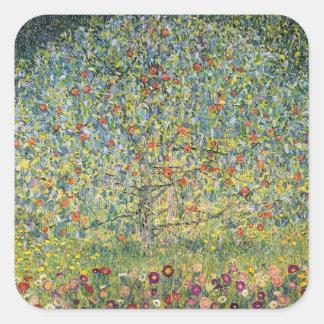 Apple Tree by Gustav Klimt, Vintage Art Nouveau Square Sticker