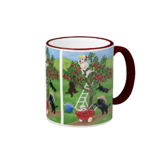 Apple Tree Labradors Painting Ringer Coffee Mug