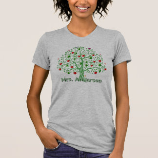 Apple Tree Personalized Name Teacher Gift T Shirt