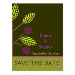 Apple tree purple fall wedding Save the Date Postcard