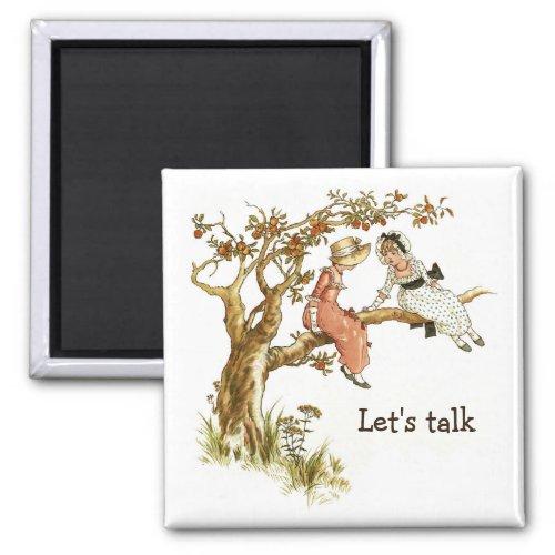 Apple Tree Victorian Girls Lets Talk Magnet
