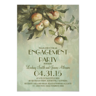 Apple tree vintage engagement party invitations