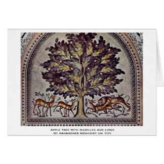 Apple Tree With Gazelles And Lions Greeting Card