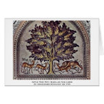 Apple Tree With Gazelles And Lions Greeting Cards