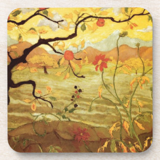 Apple Tree with Red Fruit Beverage Coaster