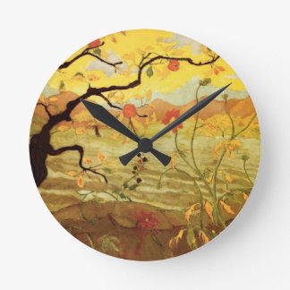 Apple Tree with Red Fruit Round Clock