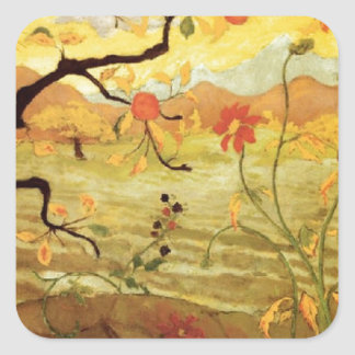 Apple Tree with Red Fruit Square Sticker