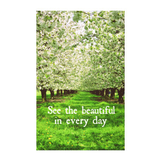 Apple Trees Blossoms with Inspirational Quote Canvas Print