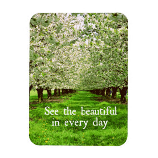 Apple Trees Blossoms with Inspirational Quote Rectangular Photo Magnet
