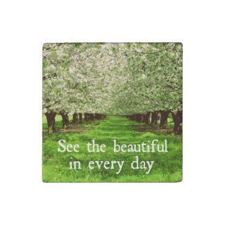 Apple Trees Blossoms with Inspirational Quote Stone Magnet
