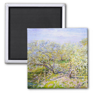 Apple Trees in Bloom, 1873 Claude Monet 2 Inch Square Magnet