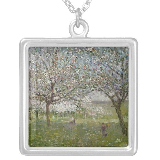 Apple Trees in Flower Silver Plated Necklace