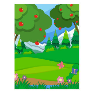 Apple trees in the orchard postcard