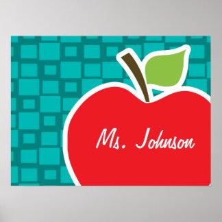 Apple; Turquoise Squares; Retro Poster