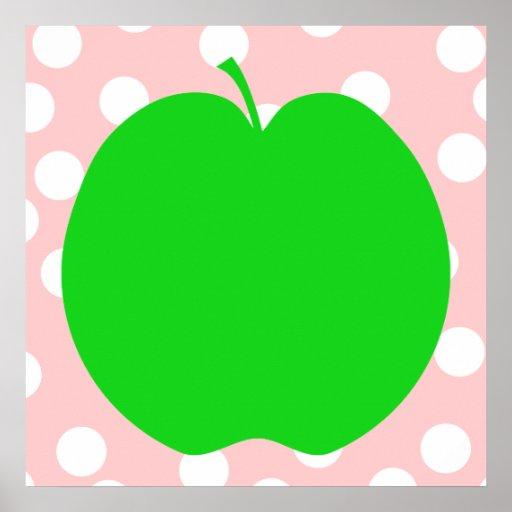 Apple verde con el fondo manchado poster
