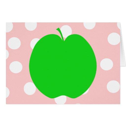Apple verde con el fondo manchado tarjeton