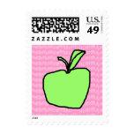 Apple verde con el fondo modelado sellos