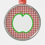 Apple verde con el modelo rojo y blanco del contro adornos