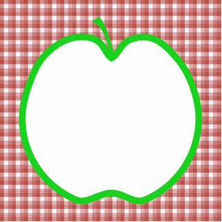 Apple verde con el modelo rojo y blanco del contro llavero fotográfico