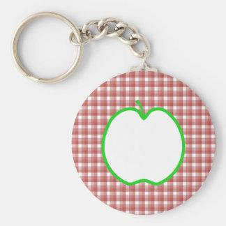 Apple verde con el modelo rojo y blanco del contro llavero redondo tipo pin