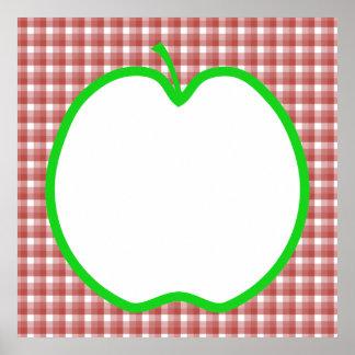 Apple verde con el modelo rojo y blanco del contro impresiones