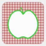 Apple verde con el modelo rojo y blanco del contro calcomanías cuadradases
