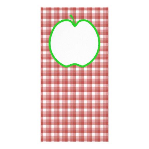 Apple verde con el modelo rojo y blanco del contro tarjetas fotograficas