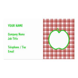 Apple verde con el modelo rojo y blanco del tarjetas de visita
