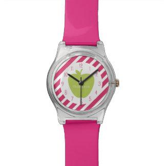 Apple verde + El rosa raya el reloj del profesor