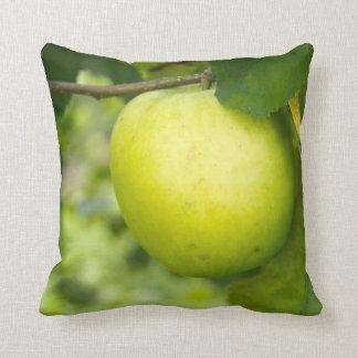 Apple verde en una rama de árbol cojin