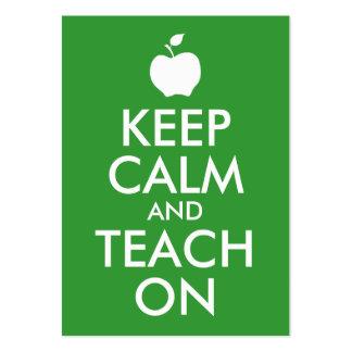 Apple verde guarda calma y la enseña encendido tarjetas de visita grandes