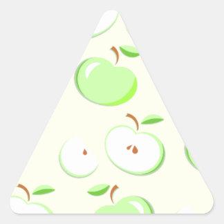Apple verde modela, cortadas y enteras las pegatina triangular