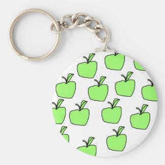 Apple verde modela llavero redondo tipo pin