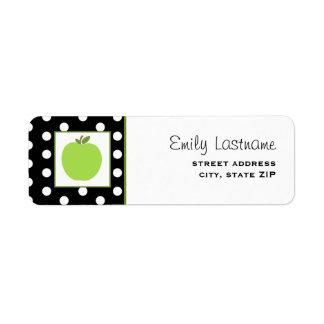 Apple verde/negro con los lunares blancos etiqueta de remite