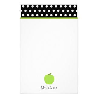 Apple verde/negro con los lunares blancos papelería de diseño