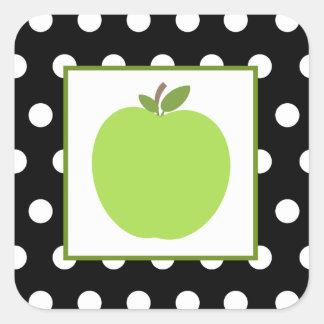 Apple verde/negro con los lunares blancos pegatina cuadrada