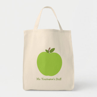 Apple verde personalizó al profesor bolsa tela para la compra