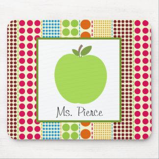 Apple verde/profesor multicolor de los lunares alfombrillas de ratón