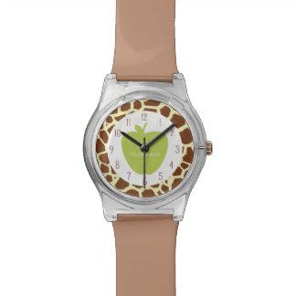 Apple verde + Reloj del profesor de la jirafa
