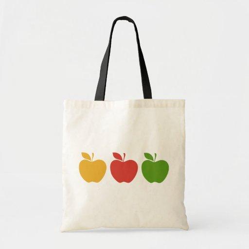Apple verde rojo amarillo bolsa tela barata