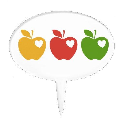 Apple verde rojo amarillo figura para tarta